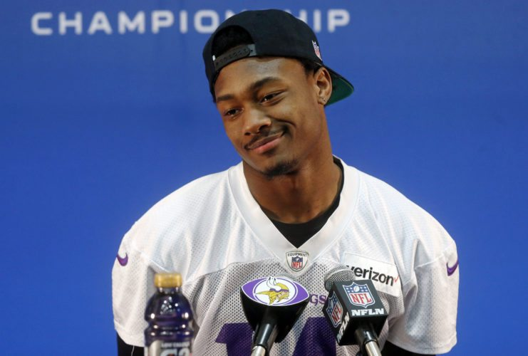 Minnesota Vikings wide receiver Stefon Diggs takes a question during a news conference Wednesday in Eden Prairie, Minn. (AP Photo)