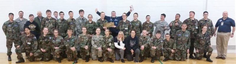 Front row, from left, are Cadet Airman Olivia Hawkins, Cadet Airman 1st Class Megan Preston, Cadet Airman Abigail Nichols, Cadet Senior Master Sgt. Nathan Obrion, Cadet Airman Serena Hart, Cadet Katlyn Rochon, Cadet Airman 1st Class Avery Hicks, Senior Member Jennifer Burger, Nisa Womack, Cadet Senior Airman Andrew Nelson, Cadet Senior Airman Dominic Trulock, Jaecer Hudon, Cadet Airman Kaiden Paulsen, Cadet Airman 1st Class Lizzy Christianson; second row are 2nd Lt. Bill Obrion, Becky Christianson, Cadet Airman 1st Class Matthew Wilson, Cadet Airman 1st Class Nathanael Dewitt, Cadet Senior Master Sgt. Donovan Powell, Cadet Airman 1st Class Bennett Klossner, Cadet Airman 1st Class Danielle Kraimer, Cadet Airman 1st Class Briana Burger, Cadet Airman 1st Class Kaya Burger, Cadet Airman Dylan Hart, Cadet Airman Brandon Wakefield, Cadet Eric Mackey, Cadet Airman Ethan Cram, Cadet Airman Micah Hulce, Cadet Airman Hunter Figgins and 2nd Lt. Russell Cram; third row are Senior Member James Cain, Senior Member James Mackey and Cadet Airman 1st Class Blake Wonfor; center in back is squadron commander Capt. Kevin Thiede.
