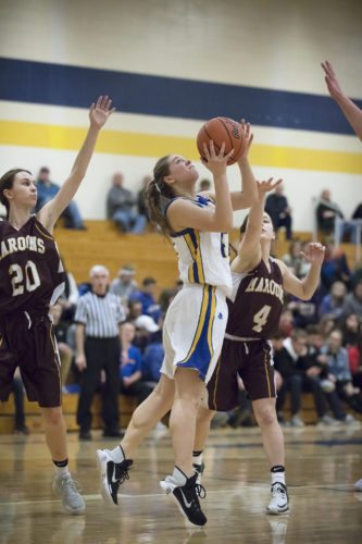 Kingsford's Renee Roberts takes a shot against Menominee on Friday, Jan. 19, 2018, in Kingsfod, Mich. (Adam Niemi/Iron Mountain Daily News)