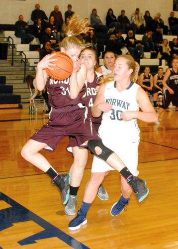 North Dickinson's Hannah Clark grabs the basketball from Norway's Kayte Casanova in Friday's Skyline Central Conference game. (Burt Angeli/The Daily News)