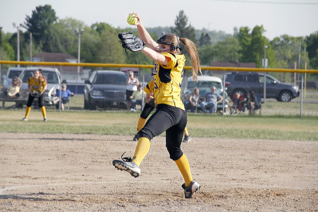 Iron Mountain pitcher Lara Hakamaki throws against Kingsford on May 23, 2016 in Kingsford, Mich. Hakamaki will pitch this season at Albion College. (Adam Niemi/Iron Mountain Daily News, File)