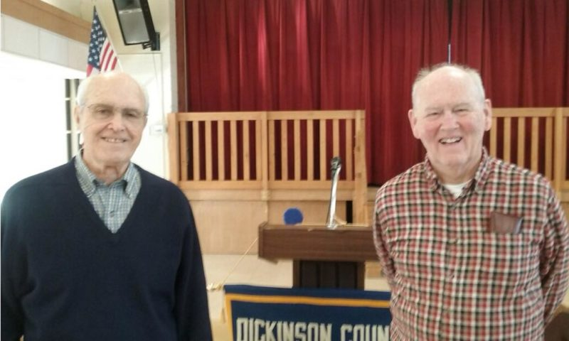 Golden K Photo Jim Verrette, left, Golden K guest speaker, presented a history of Bacco Construction Co. at their recent meeting. Chairperson of the month of February John Aune welcomed Verrette.