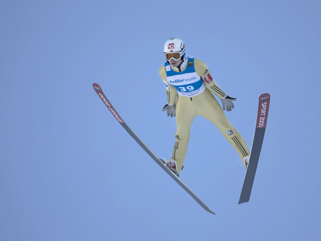 Marius Lindvik, of Norway, makes a second jump of 135.5 meters (444.5 feet) during the Pine Mountain Continental Cup ski jumping competition on Saturday, Feb. 10, 2018, in Iron Mountain, Mich. Lindvik soared a record 144 meters (472 feet) on Sunday, but fell during the landing, which discounted the jump and a would-be new record. (Adam Niemi/Iron Mountain Daily News)