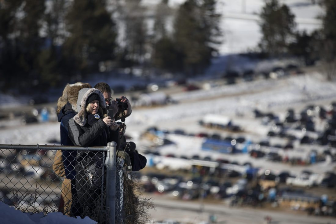A crowd looks on during the Pine Mountain Continental Cup ski jumping competition on Saturday, Feb. 10, 2018, in Iron Mountain, Mich. (Adam Niemi/Iron Mountain Daily News)