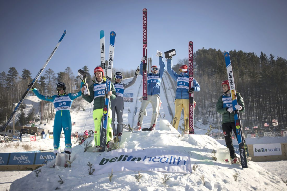 Pine Mountain Continental Cup ski jumping winners are shown Sunday, Feb. 11, 2018, in Iron Mountain, Mich. Shown from left is Nejc Dezman, Andreas Wank, Anze Lanisek, Halvor Egner Granerud, Marius Lindvik and David Siegel. Granerud was Sunday's winner. (Adam Niemi/The Daily News)