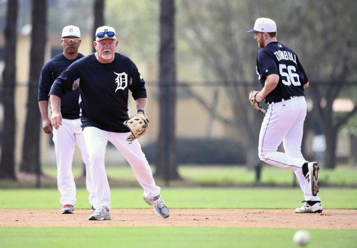 Detroit Tigers manager Ron Gardenhire waits for a ground ball in a drill to cover first base during spring baseball practice, Wednesday, Feb. 14, 2018, in Lakeland, Fla. (Robin Buckson/Detroit News via AP)
