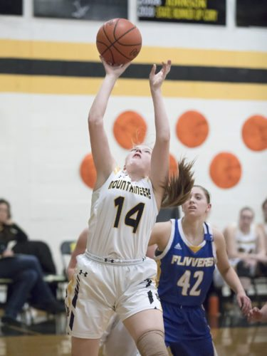 Iron Mountain's Reagan Lundholm puts up a shot against Kingsford on Friday, Feb. 16, 2018, in Iron Mountain, Mich. (Adam Niemi/Iron Mountain Daily News)