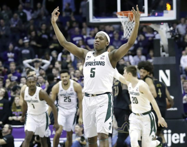 Michigan State guard Cassius Winston (5) reacts after making a three-point basket against Northwestern on Saturday in Rosemont, Ill. (AP Photo/Nam Y. Huh)