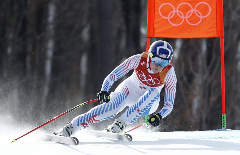 United States' Lindsey Vonn competes in the women's downhill at the 2018 Winter Olympics in Jeongseon, South Korea, Wednesday, Feb. 21, 2018. (AP Photo/Patrick Semansky)