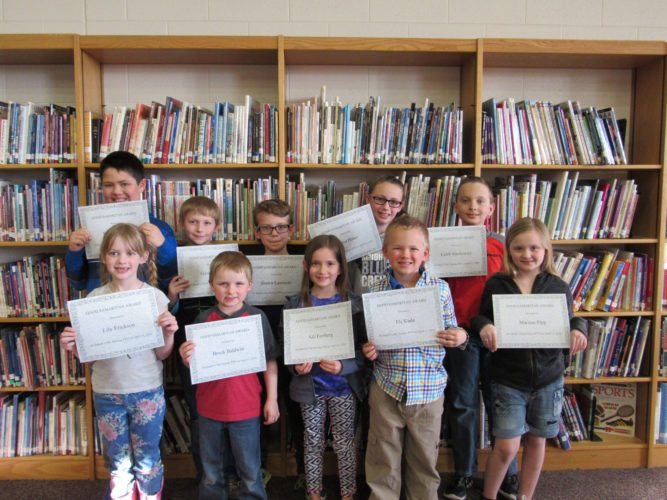 The award winners were Lily Erickson, early kindergarten, Tammy DeBakker; Brock Baldwin, kindergarten, Maria Lasater; Gavin Yauch, kindergarten, Brittany Conery; Shawn Lawnicki, first grade, Julie Barthels; Eli Slade, first grade, Raeann Seat; Izzy Gauthier, second grade, Cindy Miller (not pictured); Aili Freiberg, second grade; Jeff Gallino; Skylar St. John, third grade, Dave Langin; Marisa Pipp, third grade, Jackie Backlund; Caleb Stachowicz, fourth grade, MaryBeth Paul and Erica Hales, fourth grade, Al Trudeau.