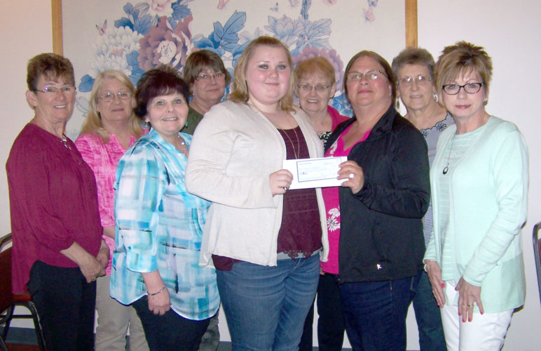 The Iron Mountain Chapter of Friends of Education awarded its 2018 scholarship of $500 to Hailie Mullen of Florence, Wis., a Florence High School graduate. Mullen also was enrolled at the Northeast Wisconsin Technical College Regional Center, where she carried a 4.0 in college courses. She will attend NWTC in Green Bay for two years, and then the University of Wisconsin-Green Bay for two years toward a degree as a registered nurse. In the front center is Mullen, with Friends of Education members behind her — from left are Judy Waite, Judy Wicklund, Donna Fayas Johnson, Darcy Walstrom, Sue Hooper, Bonnie Sadler, Diane Izzo and Mary Murray.