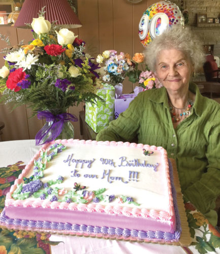 Muriel Beaulier of Kingsford was honored for her 90th birthday June 10 at a family gathering. Her six children were all able to attend the celebration.