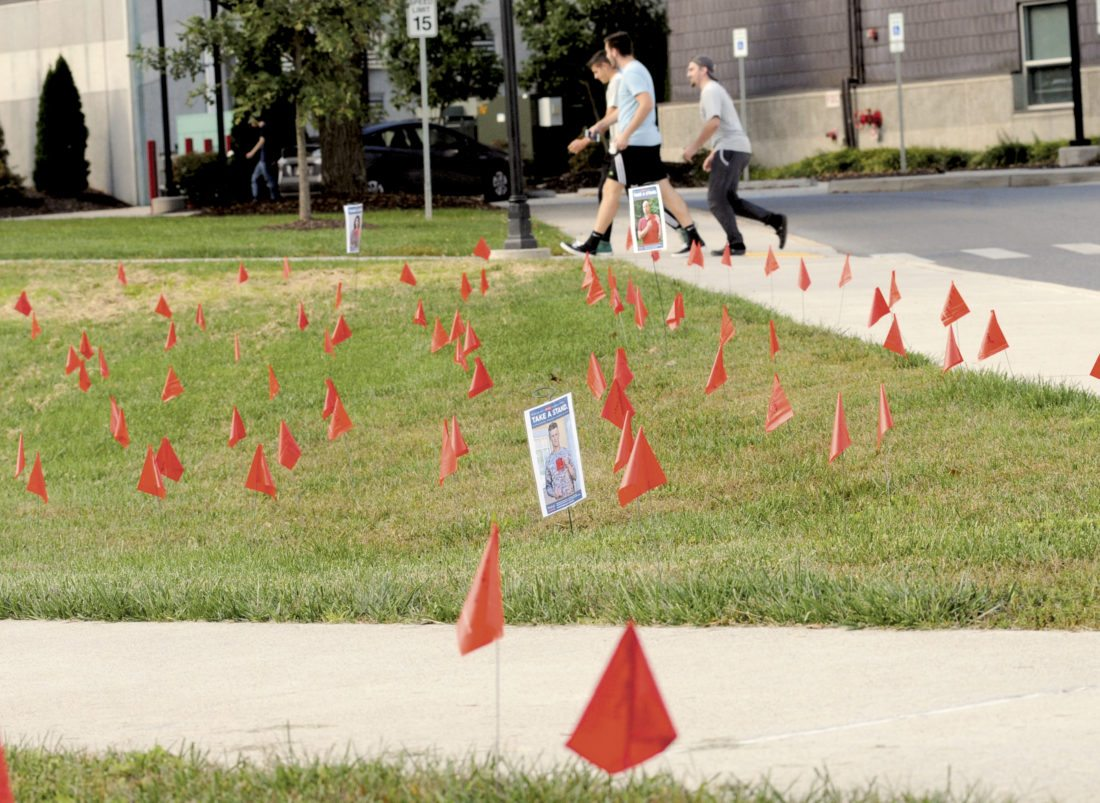 Journalphoto by Ron Agnir Hundreds of red flags line the grass in front of Shaw Hall at Shepherd University in a campaign against domestic violence sponsored by the departments of sociology,  geology, political science and psychology.