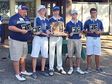 Submitted photo From left, Washington coach Rusty Staubs and players Mason Kidwell, Christian Boyd, Tanner Elliott and Gavin Bonievich pose with plaques after placing second at the state golf tournament on Wednesday.