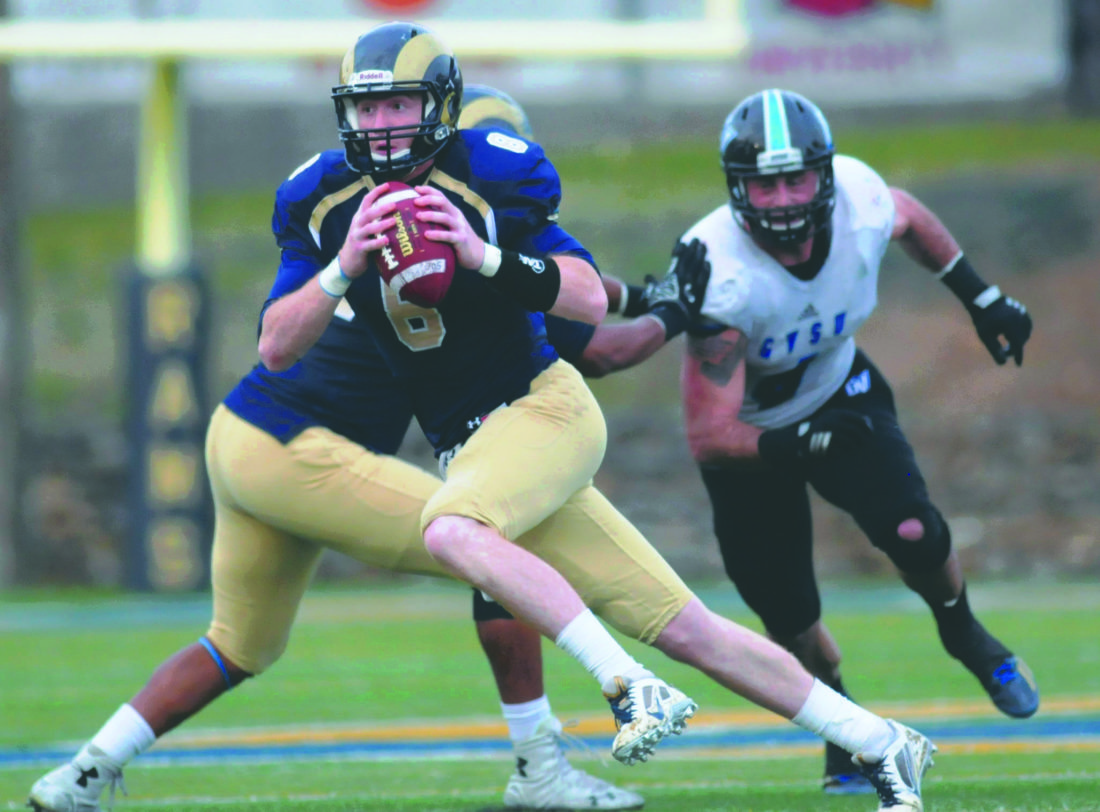Journal file photo by Ron Agnir Shepherd quarterback Connor Jessop led the Rams to a record-setting win over West Virginia State on Saturday after starting in place of Jeff Ziemba.