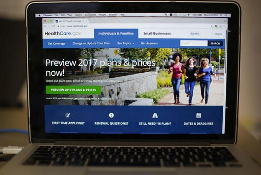 The HealthCare.gov 2017 web site home page as seen in Washington, Monday, Oct. 24, 2016. The Obama administration is confirming that premiums will go up sharply next year for health insurance sold to millions of consumers through HealthCare.gov.  (AP Photo/Pablo Martinez Monsivais)