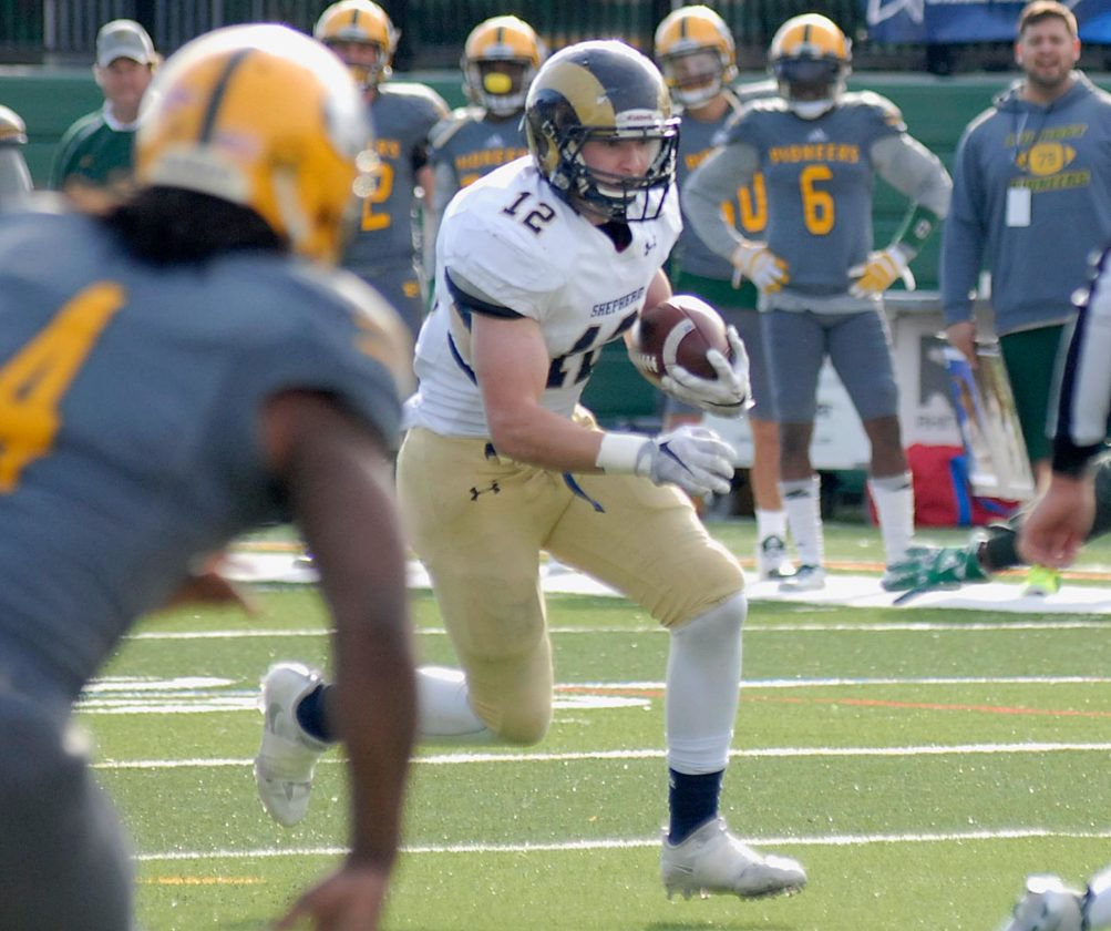 Freshman running back Brandon Hlavach rushed for 177 yards in Shepherd's win over LIU-Post. (Journal photo by Matt Poling)