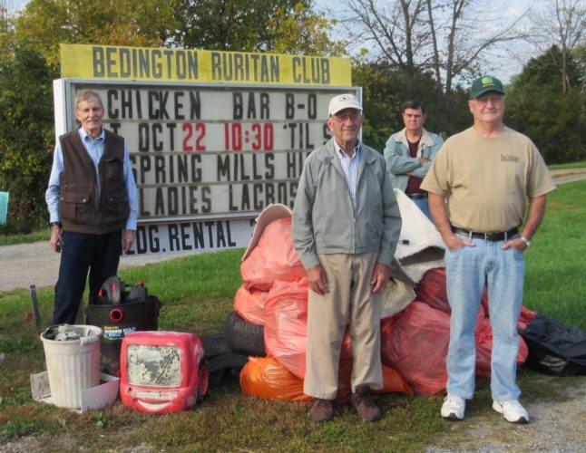 (Submitted photo) Bedington Ruritan members and associate members collected 16 bags of trash during the club's annual Fall Cleanup. From left are John Overington, Fred Table, Charlie Triggs and Roger Gregory. Not photographed are Brock Adams, Jeff Adams and Jim Kief.