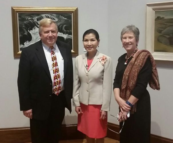 (Submitted photo) From left, museum president Al Martin; Maryland's first lady Yumi Hogan; and museum director Rebecca Massie Lane are seen as they attend the Washington County Museum of Fine Arts' annual gala Oct. 8 in Hagerstown, Md.