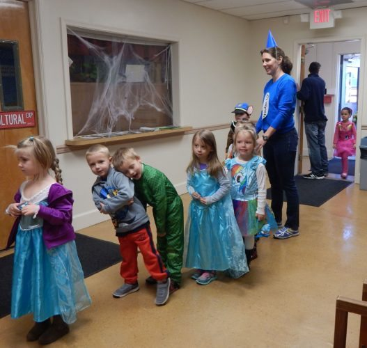 """(Submitted photo) Pre-K students from around Jefferson County haunt the halls of the Jefferson County Schools' central office on Oct. 28 in Charles Town during the second annual """"Teach and Treat"""" day."""