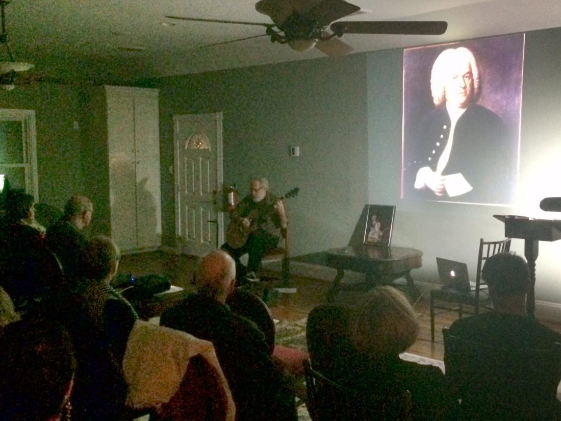 (Journal photo by Matt Dellinger) Steven Hancoff plays a tribute to Johann Sebastian Bach at the historic McFarland House on Friday night.