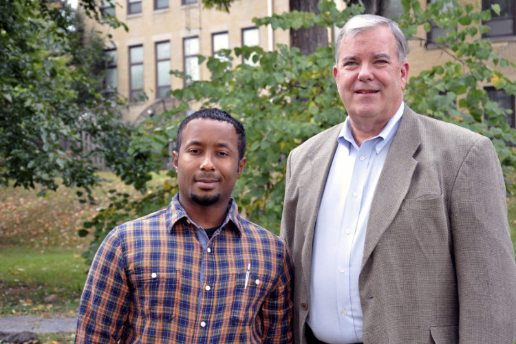 Photo courtesy of Shepherd University Brent Lyon, left, of Harpers Ferry, is a semifinalist in the annual West Virginia Collegiate Business Plan Competition. His mentor for the competition is Mike Daily, adjunct instructor of business administration.
