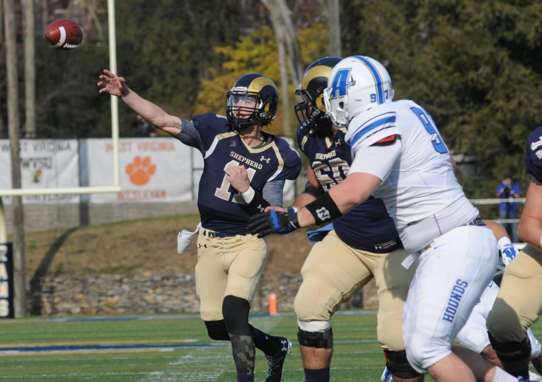 Quarterback Jeff Ziemba delivers a pass in Shepherd's win last week over Assumption. (Journal photo by Ron Agnir)