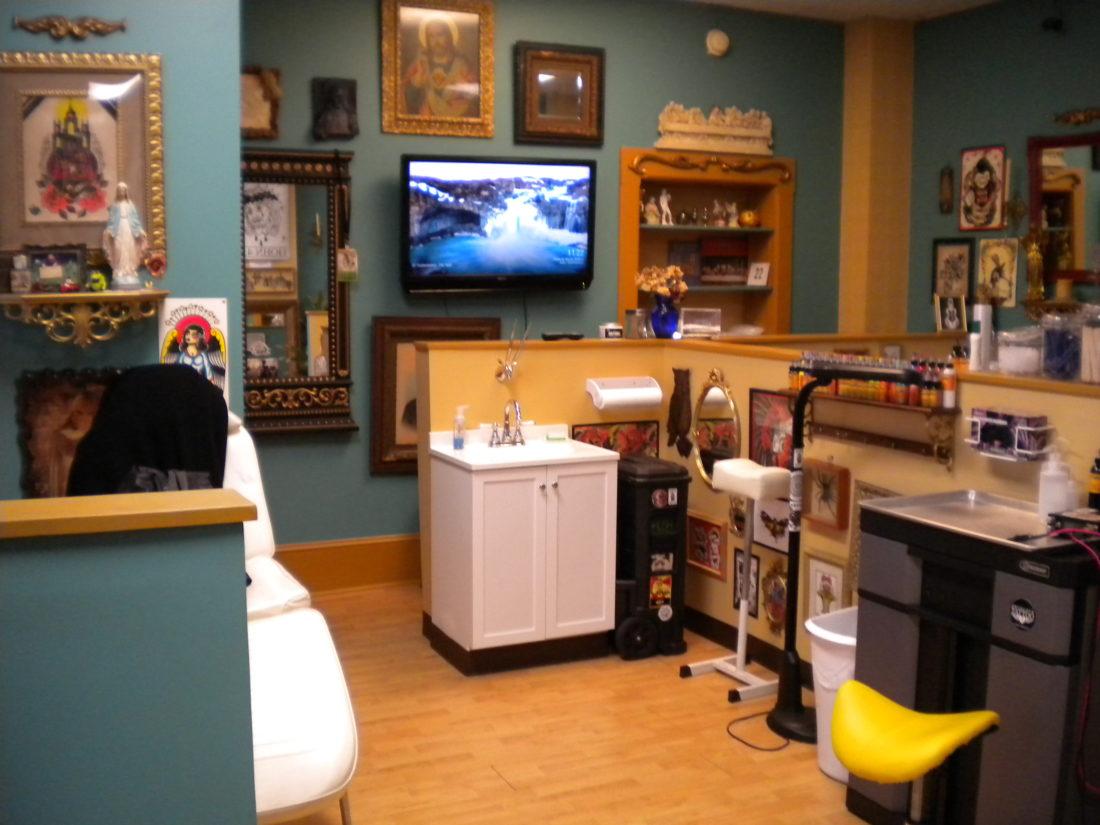 True Love Tattoo Parlor owner Brandon Murphy's tattoo station is shown.