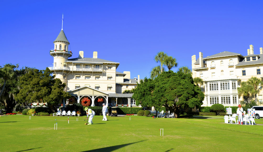"Tournament-level croquet is played at the Jekyll Island Club with specially designed mallets and a perfectly level ""greensward"" lawn. ""Whites"" are not required but appeared to be a popular choice. I was relieved to discover the players were guests and not hired for the task."