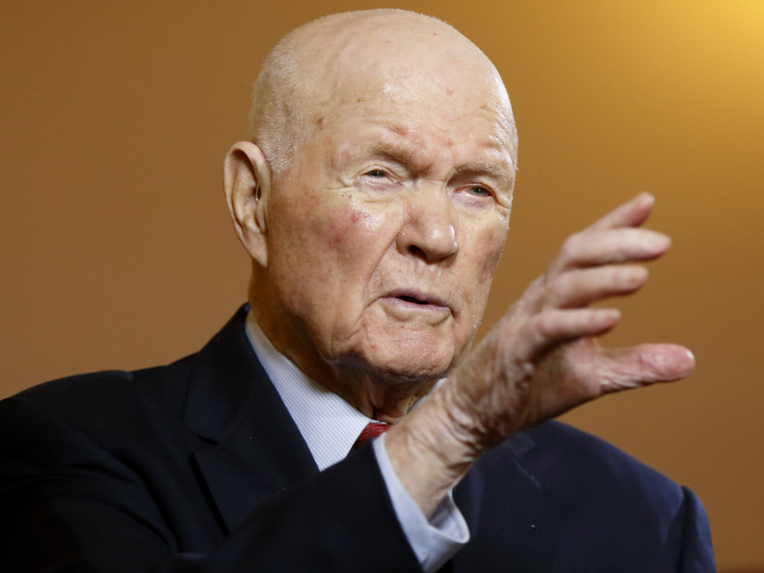 FILE - In this Thursday, May 14, 2015, file photo, former U.S. senator and astronaut John Glenn speaks during an exclusive interview with The Associated Press at the Ohio Statehouse, in Columbus, Ohio. On Wednesday, Dec. 7, 2016, an Ohio State University official said Glenn has been hospitalized for more than a week. (AP Photo/Paul Vernon, File)