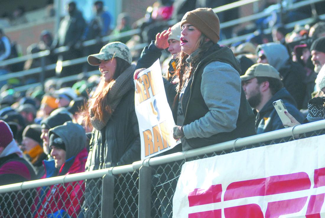 Journal photo by Rick Kozlowski Fans of Shepherd University cheer during Saturday's Division II semifinal at Ram Stadium in Shepherdstown.