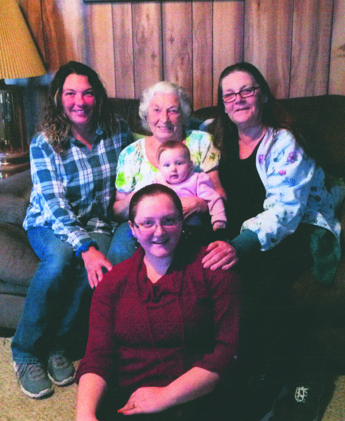 (Submitted photo) Front row: Brittany Gordon (See), great-grandaughter of Dorothy Second row: Angel Knepper (granddaughter of Dorothy); Dorothy Bosley holding great-great-granddaughter, Paisley See; and Shirley McClain (daughter of Dorothy).