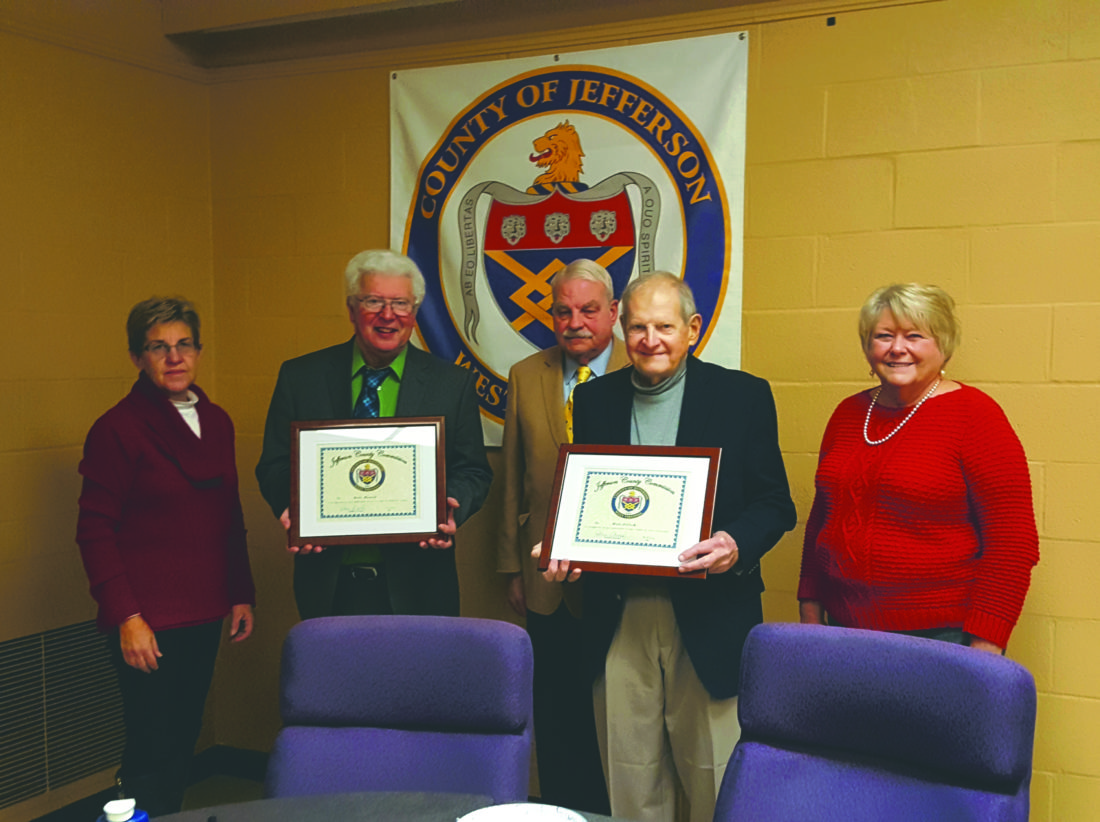 (Photo by Jennifer R. Young) Jefferson County Commissioners gave outgoing commissioners Dale Manuel and Walt Pellish a plaque to thank them for their service. From left are Jane M. Tabb, Manuel, Peter Onoszko, Pellish and Patsy Noland.