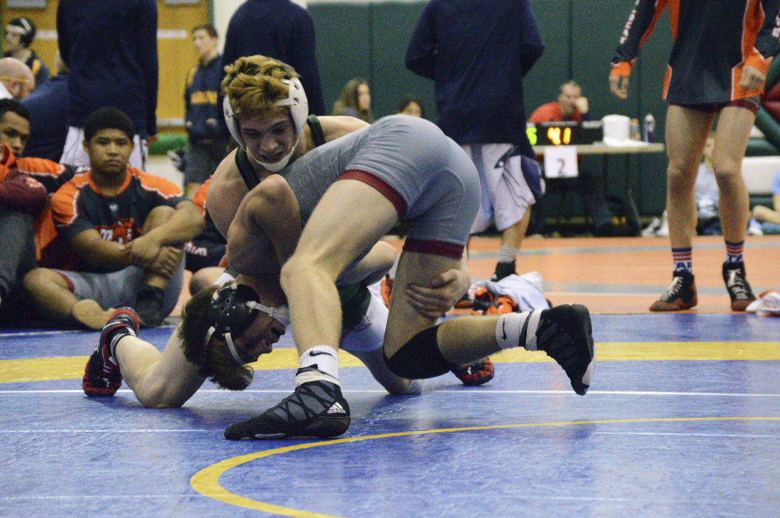 Journal photo by Jessica Manuel Musselman's Camrin Rawlings wrestles against Mountain View, Virginia, during a 132-pound match at Saturday's Musselman Duals in Inwood.