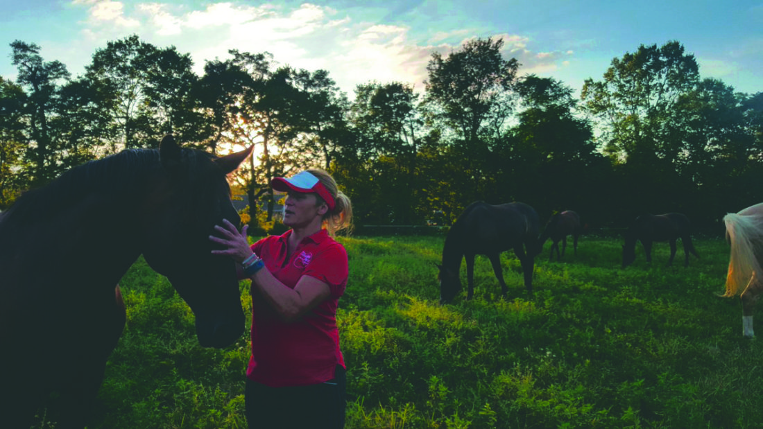 (Journal photos by Mary Stortstrom) Angie Francart, co-owner of Sleeping Fox Farm, a thoroughbred racehorse rescue farm, scratches a horse's nose in the 40-acre paddock with her sanctuary horses. Francart is on a mission to ensure thoroughbreds have a comfortable life once they leave the racetrack.