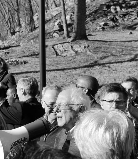 Journal photo by Danyel VanReenen Senator Bernie Sanders, D-Vermont, speaks to a crowd outside of the Bavarian Inn on Thursday in Shepherdstown.