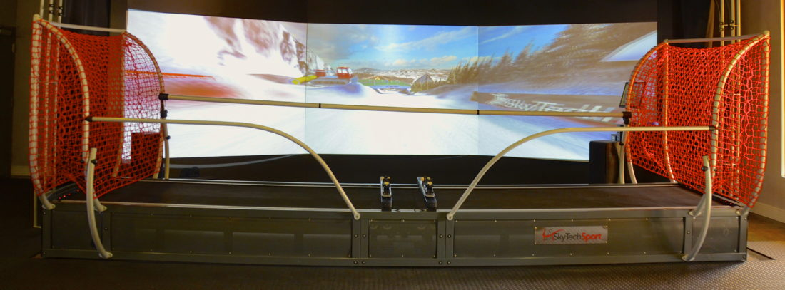 Winter Club makes skiing on Olympic slopes a virtual afternoon escape in the midst of Florida.  (Journal photo by Jeanne Mozier)