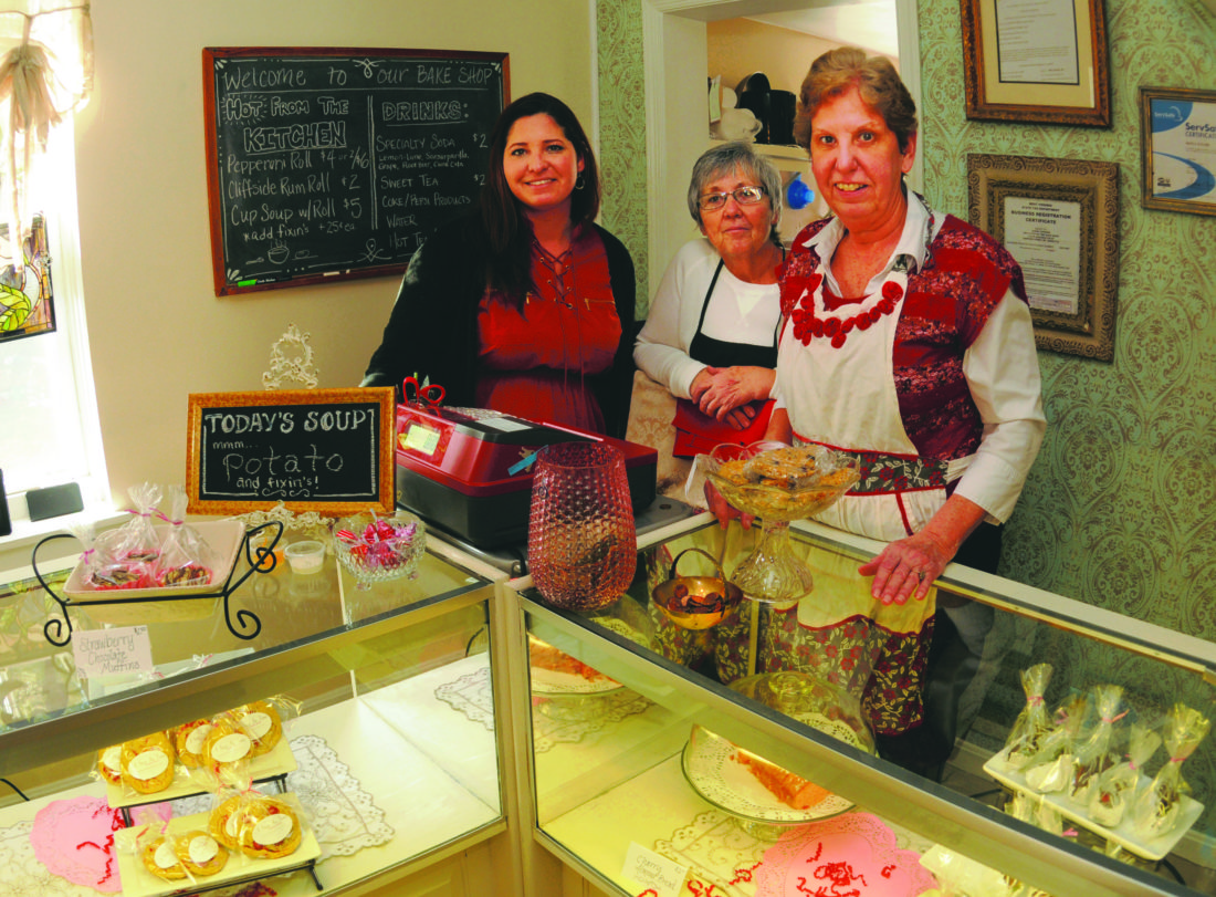(Journal photos by Ron Agnir) In this photo taken Tuesday afternoon in Harpers Ferry are, from left, Sarah Gordon, owner, Marla Staubs, soup maker, and Terri Wilson, baker, at A Step In Time Bake Shop.