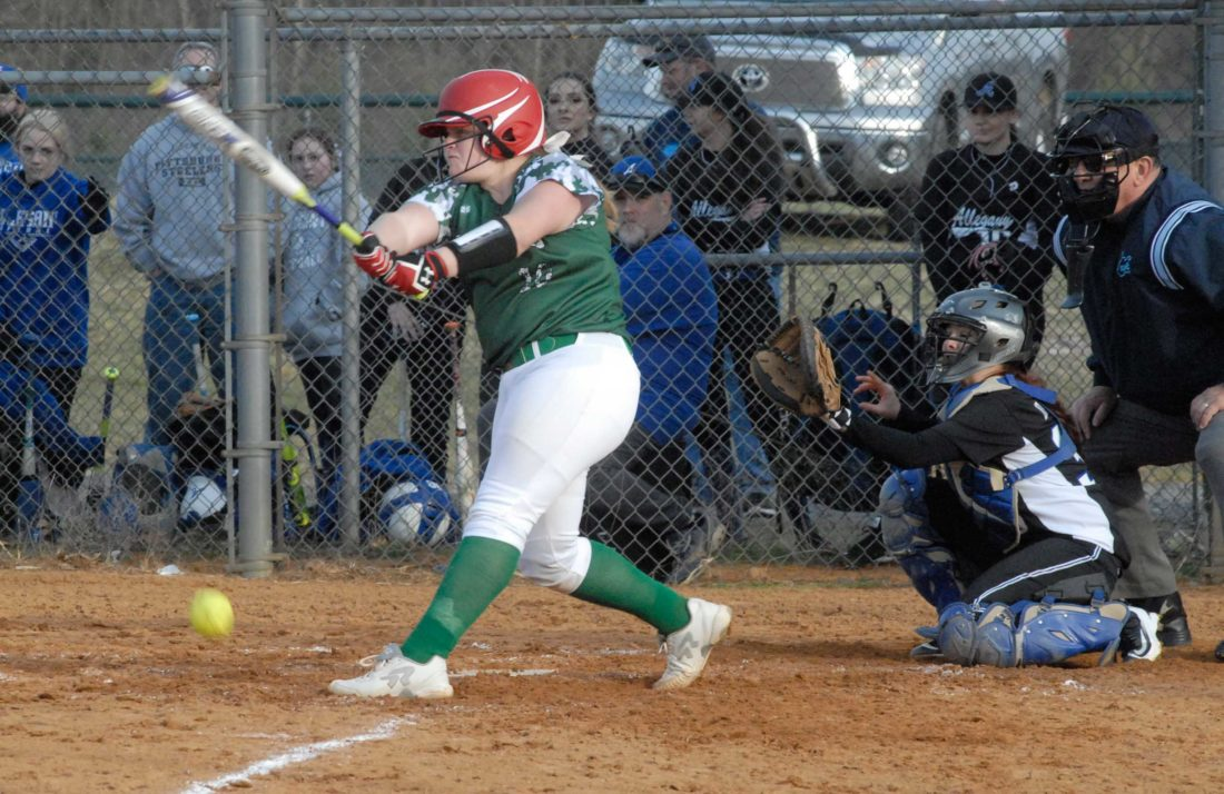 Musselman's Brianne Stocks, left, fouls off a pitch during Tuesday's game against Allegany (Md.).  (Journal photo by Rick Kozlowski)