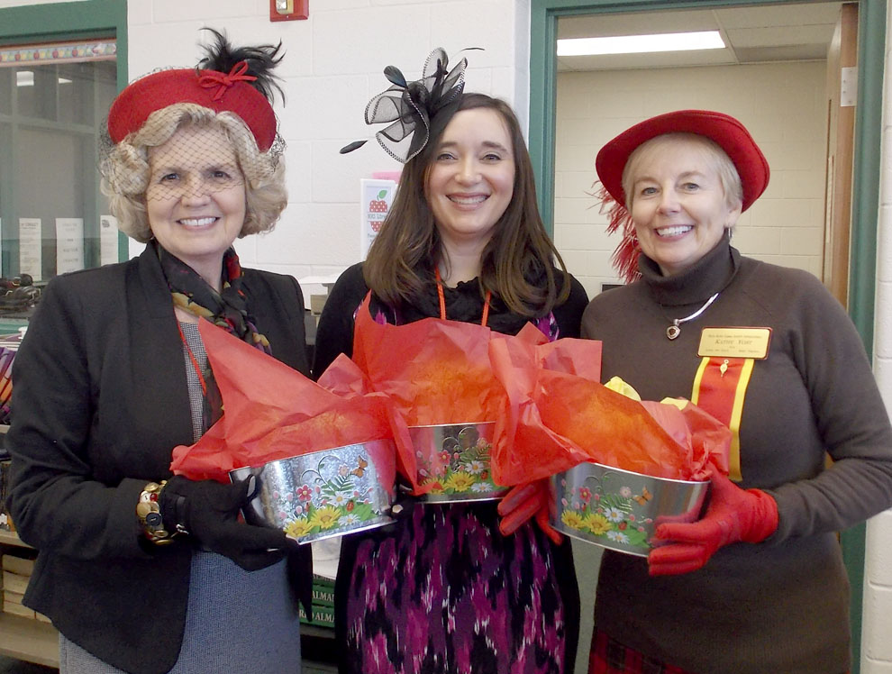 The winners of the hat parade are, from left, Barbara Frankenberry, best homage to Eta's Founders; Bethany Miller, prettiest creation, and Kathy Yost, most glamorous. (Submitted photo)