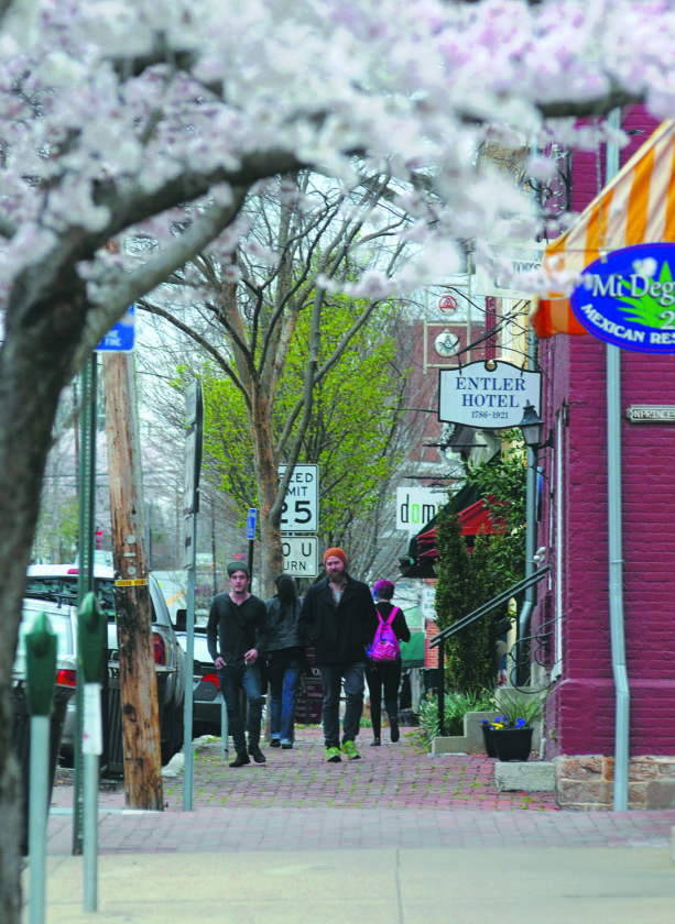 Journal photo by Ron Agnir People walk along East German Street in Shepherdstown recently under blooming apple blossoms. Temperatures are expected to be in the 60s today.
