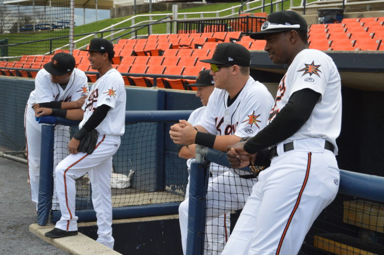 Alex Murphy, second from right, and some of his Frederick Keys  teammates look on Tuesday as the team holds its media day. The Keys open the season at home on Thursday against Carolina. (Journal photo by Jessica Manuel)