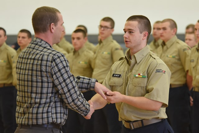 Cadet George Schech is shown receiving his award. (Submitted photo)