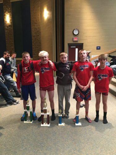 Submitted photos Nate Phillips, far left, Hunter Locke, Kade Bradbury, Buddy Stine and Keegan Herbst pose after winning individual titles during the Mason-Dixon tournament.