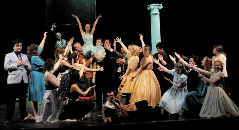 """The cast performing the musical number """"Burn to Hand Jive"""" during Grease at Musselman High School. (Journal Photo by Ron Agnir)"""