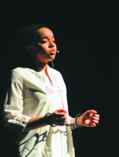 """Aida (Morgan Johnson) sings """"The Past is Another Land"""" in the Hedgesville High School """"Eagle Theatre"""" production of Aida: The Timeless Love story. (Journal Photo by Ron Agnir)"""
