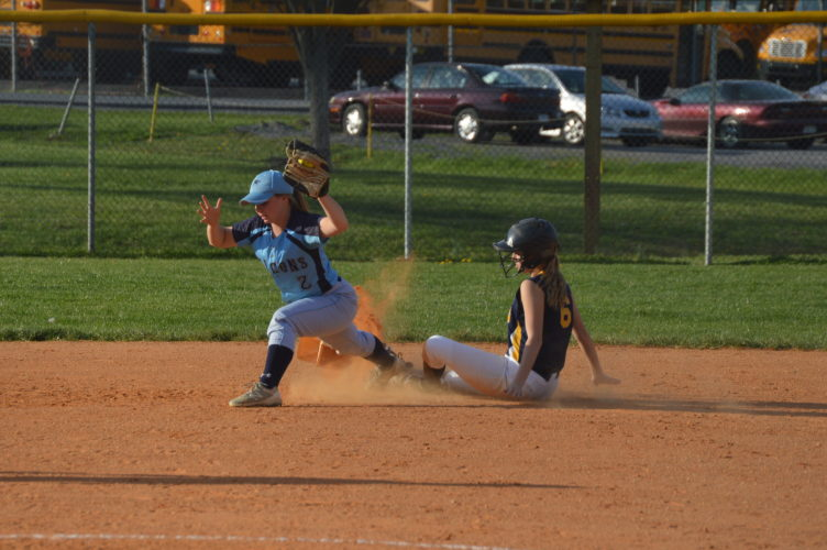Frankfort manages a force out at second base of a Berkely Springs baserunner during the first game of a doubleheader on Tuesday. (Journal photo by Jessica Manuel)