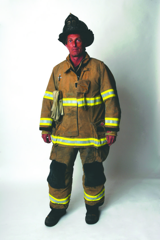 Journal photo by Jeff McCoy Fireman Tommy Presley is shown suited up for a fire.