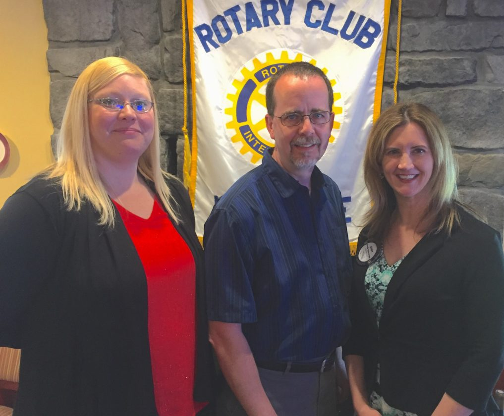 Shown, from left, are Melissa Holman, the director of the Day Care Center; Shepherdstown Elementary School Principal Scott Jacobson; and Rotary Club President Dana Sandy Sponaugle. (Submitted photo)