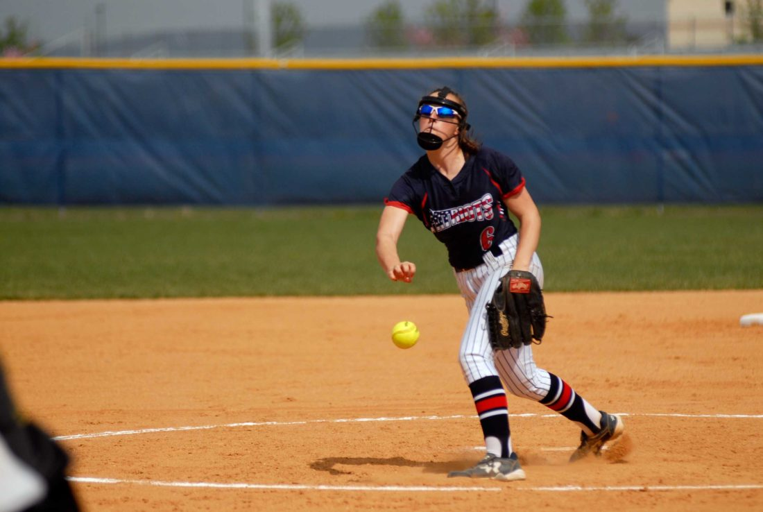 Journal photo by Eric Jones Washington'sTaylorCenate delivers a pitch during a game earlier this year againstEast Hardy. The Patriots are the top seed in the Class AAA,Region II, Section 2 softball tournament.